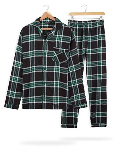 CityComfort Pijama Hombre Cuadros, Pijama Hombre Invierno Franela, Pijamas Hombre Estampado Escoces, Ropa Hombre 100% Algodon, Regalos para Hombre Talla M-3XL (Negro/Verde, XL)