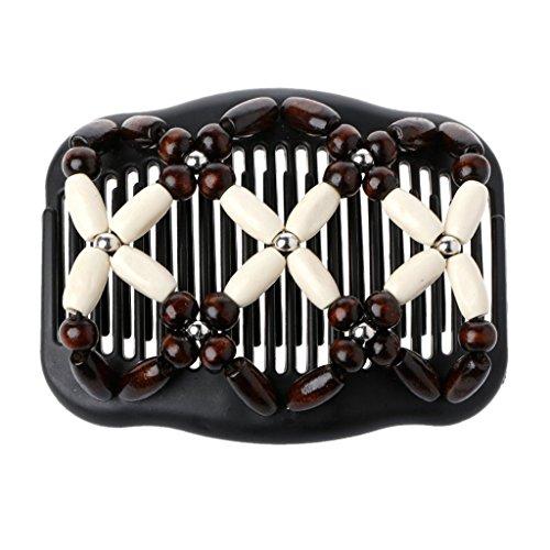 Hergon vintage Wood Perles double Peigne à cheveux, Hot vendre extensible Femme Accessoires Cheveux Filles Cadeau