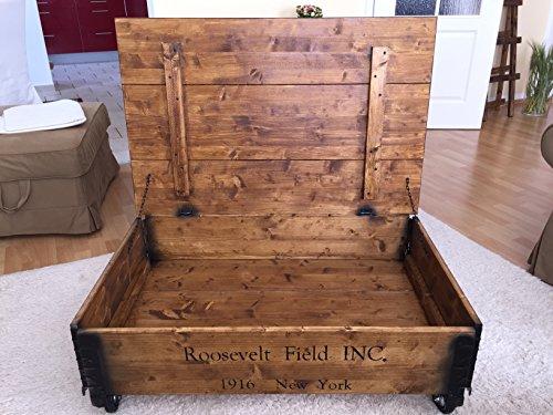 """Uncle Joe´s Couchtisch """"Roosevelt Field"""", Holz mit klappbarem Deckel, vintage, shabby chic, 100x65x30cm - 4"""