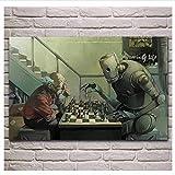 Puzzle 1000 piezas Divertido anciano y robot jugando al ajedrez puzzle 1000 piezas educa Juegos familiares para adultos divertidos para niños Rompecabezas de juguete de descom50x75cm(20x30inch)