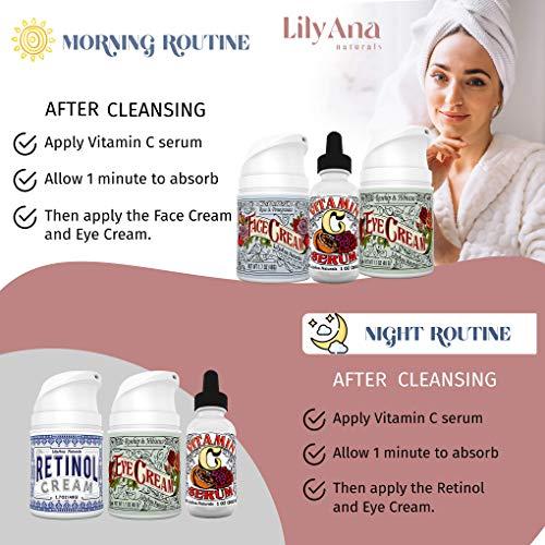 Eye Cream Moisturizer (1oz) 94% Natural Anti Aging Skin Care by LilyAna Naturals