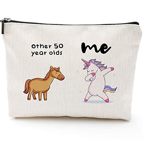 1971 Birthday Gifts for Women, 50 Years Old Birthday Gifts-50th Birthday Gifts for Women - Makeup Bag for Mom, Wife, Friend, Sister, Her, Colleague, Coworker(Makeup bag-50th Unicorn)