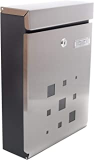 PEELCO Modern Stainless Steel Mailbox - Vertical Wall Mount - Powder Coated Galvanized - Weather Proof - Lockable w/Spare Keys (Stainless Steel w/Black Trim)