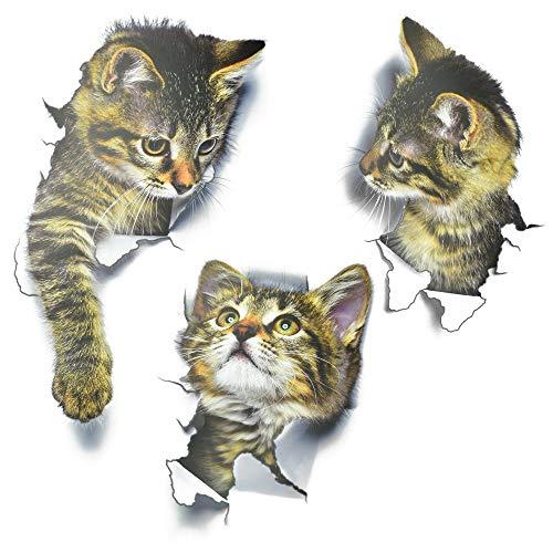 Wandtattoo 3D Katzen Wandsticker Wandaufkleber Wasserfest Aufkleber Kombination Süß Katze Wand Aufkleber selbstklebend Abnehmbare Wandtattoo Wand Dekoration Wandsticker für WC Kühlschrank DIY