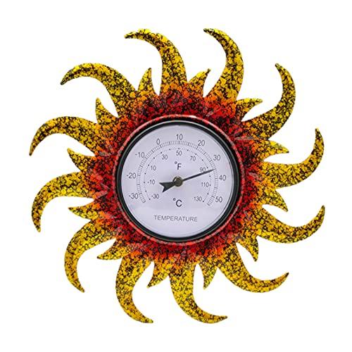 MagiDeal Termómetro para interiores y exteriores, termómetro de pared inalámbrico a prueba de agua, patrón de sol, sin batería, decoración para colgar en el - Amarillo