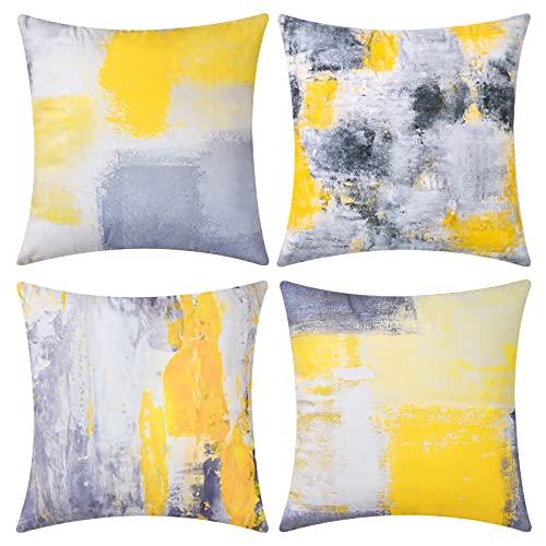 UINI Moderner, dekorativer Kissenbezug, 4er-Set gelbe und graue Kissenbezüge, 45,7 x cm, zeitgenössische abstrakte Kunstmalerei, quadratischer Kissenbezüge für Couch, Wohnzimmer, Bett