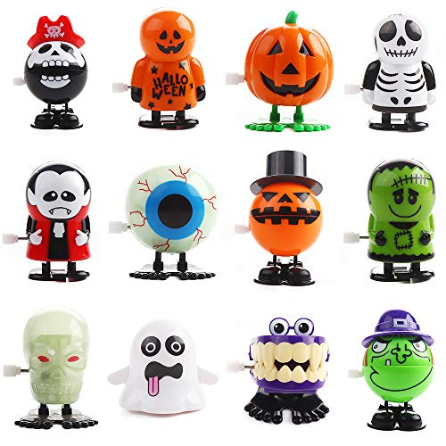 VEYLIN 12 Pieces Halloween Party Toys Set Halloween Wind-up Toys for Kids Novelty Pumpkin Skull Ghost Spring Toys
