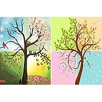 HaiMay 2パック DIY 5D ダイヤモンドペインティングキット 大人用 番号入りペイント フルドリル ペインティング ダイヤモンド ピクチャーアートクラフト 壁装飾用 四季の木 (14×18インチ)