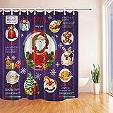 NJMRZX - Cortinas de ducha de año nuevo en baño con bolsa de regalo y baya de acebo rodeadas de árbol de Navidad de muñeco de nieve, cortina de baño de tela con ganchos incluidos 71 x 71 in
