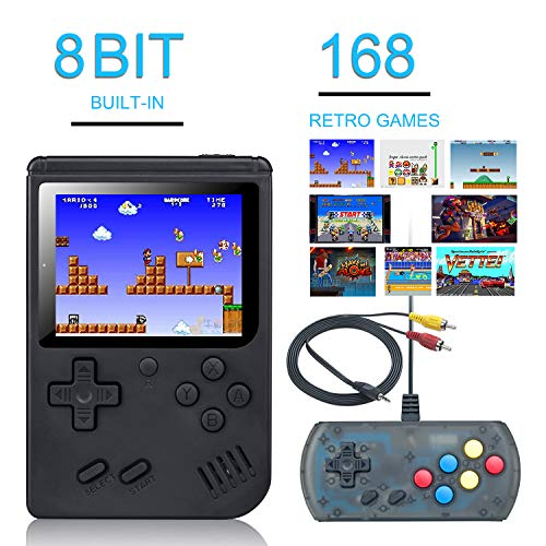 weikin Handheld Game Console, 168 Classic Games 3 Inch LCD Screen Portable Retro Video Game Console Support for Connecting TV and Two Players, Good Gifts for Kids and Adult.