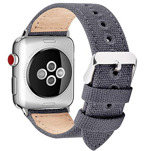 Fullmosa Kompatibel Apple Watch Armband 40mm in 8 Farben, Armband Stoff Leinen Style für Watch Armband Serie 5/4/3/2/1, Nordisches Grau 38mm/40mm