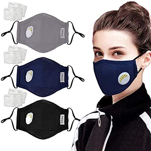 Gokeop 3Pcs Face Covering with Breathing Valve with Activated Carbon Filter Replaceable Filters Haze Dust Face Layer Cotton Health for Adults (+ with 6Pcs Filters Mats)