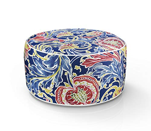 FBTS Prime Outdoor Inflatable Ottoman Navy Paisley Round 21x9 Inch Patio Foot Stools and Ottomans Portable Travel Footstool Used