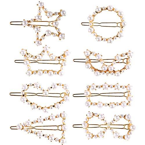 Onwon 8 Pieces Artificial Pearl Hair Pins Hair Barrettes Decorative Wedding Bridal Hair Clips Handmade Pearl Accessories for Girls Women