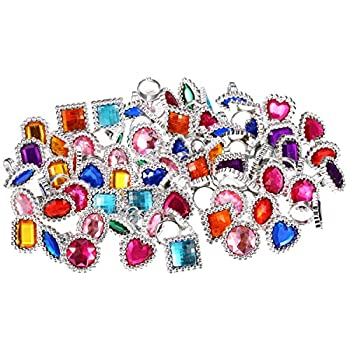 72 Pieces Plastic Colorful Rings Sparkle Adjustable Big Rings Princess Ring Toy Rings Dress Up Accessories for Girls