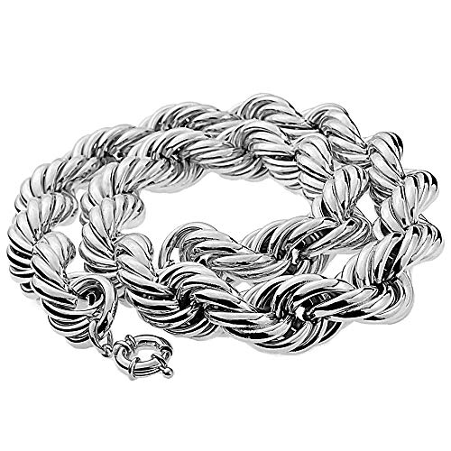 Bling Cartel Huge Mens Rope Chain 25MM Wide x 30' Inch Silver Tone Hollow Dookie Hip Hop Rapper Necklace