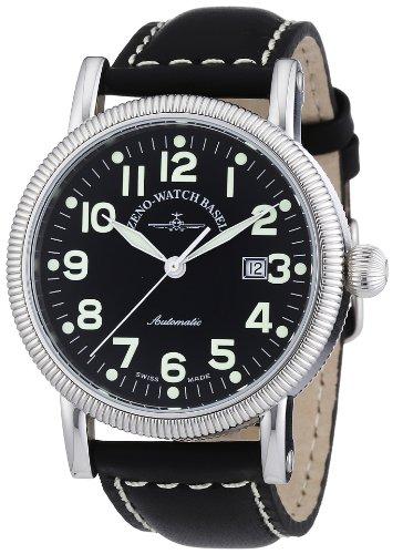 Zeno Watch Basel Nostalgia 98079-a1 - Reloj de caballero automático, correa de piel color negro