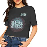 Looaya Suicide Silence You Can't Stop Me Sexy Exposed Navel Female T-Shirt Bare Midriff Crop Top T-Shirts Black,Medium