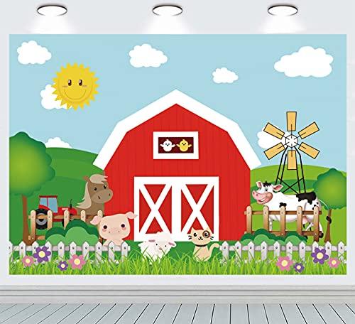 INRUI Fondo de fotografía de animales de granja de dibujos animados de animales de granja rojos para baby shower decoración de fiesta de cumpleaños (2,1 m x 1,5 m)