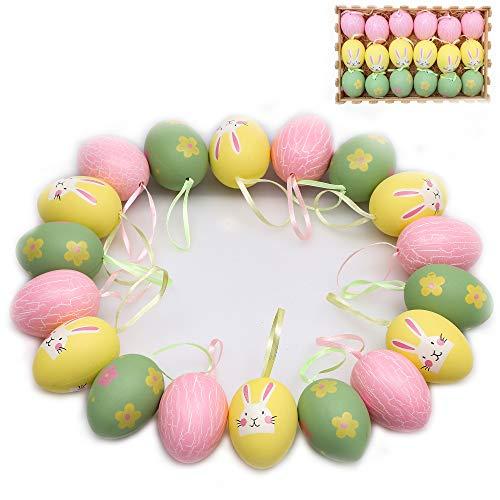 Victor's Workshop Uova di Pasqua 6cm 18 Pezzi Decorazione Plastica di Pasqua Ornamenti Pasquali Giocattoli per Bambini Deco Decorazione Primaverile Ciondolo Pasquale per Pasqua Casa Giallo/Rosa/Verde