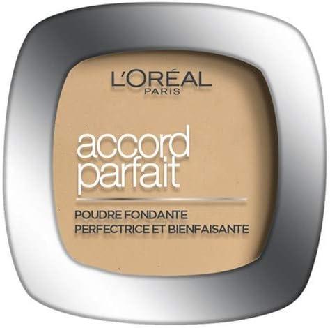 L'Oréal Paris - Poudre Fondante Accord Parfait - Peaux Normales à Mixtes - Teinte : Capuccino Doré (8.D) - 9 g