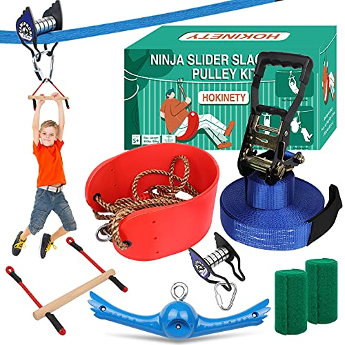 Ninja Warrior Obstacle Course for Kids:65FT Ninja Slider Slackline Pulley Kit - Zip Line Accessories Includes Swing   Spinning Swing Toys   Monkey Bars - Outdoor Playset Equipment for Backyard