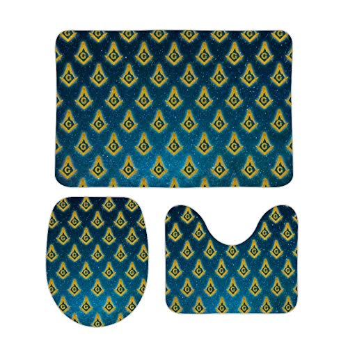 Juego de alfombras de baño RedBeans antideslizantes de 3 piezas de franela para baño, masonería estrellada suave con pedestal antideslizante para la ducha, alfombra de inodoro