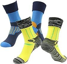 Soccer Tournament Water Proof Socks, RANDY SUN Men's Non-Binding Stay Active Winter Mountain Biking Running Socks For Athletic 2 Pairs Blue&Yellow XS