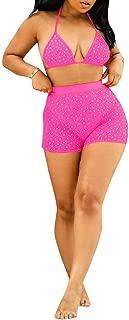 Womens Sexy Mesh Two Piece Bathing Suits Sequin See Through Bikini Bra Top + Shorts Set Beach Swimwear