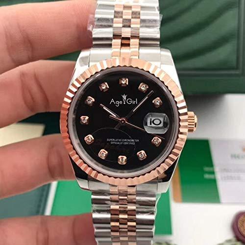 HHBB Marca de lujo automático mecánico hombres acero inoxidable zafiro oro rosa diamante Roma bisel 36mm Aaa+plata oro negro D