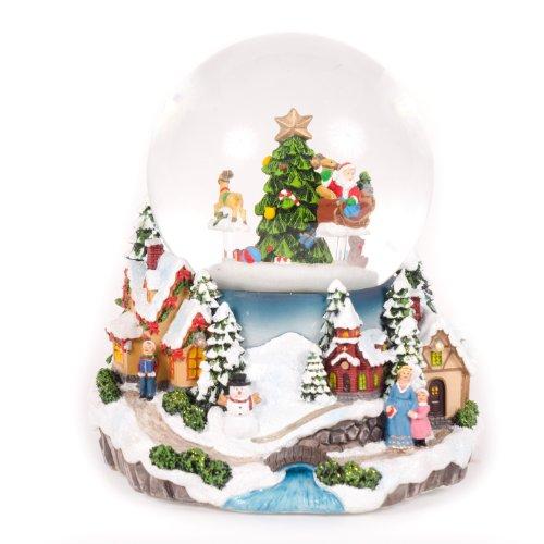 WeRChristmas Weihnachtsdeko, Schneekugel mit rotierendem Weihnachtsmann, 17 cm, mit Musik