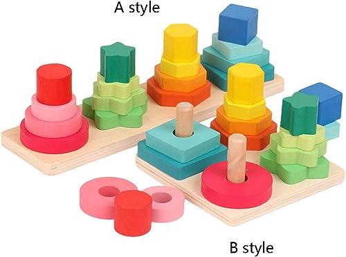 100% a estrenar con calidad original. RFJJAL RFJJAL RFJJAL Conjunto de Bloques de columnas apiladas y clasificadas - Juguete Educativo de Madera con 16 Piezas de Madera Maciza (Color   B Style)  mas preferencial