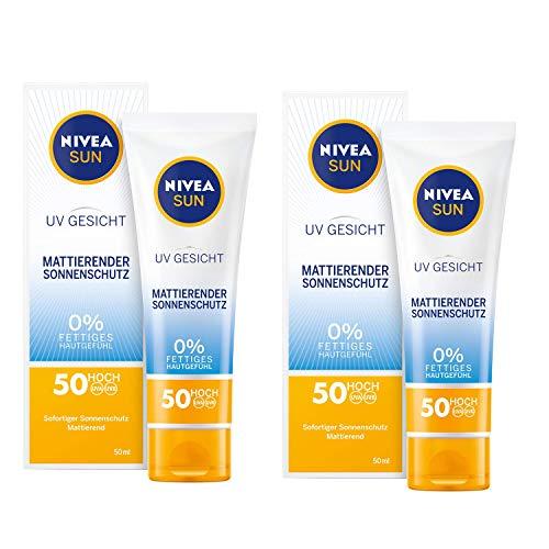 SUN Sonnencreme fürs Gesicht, Mattierender Sonnenschutz, Lichtschutzfaktor 50, Tube, 50 ml - 2 Pack