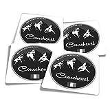 Pegatinas de vinilo (juego de 4) 10 cm – BW – Courchevel Ski Snowboard Resort Francia Divertidas calcomanías para portátiles, tabletas, equipaje, reserva de chatarra #40173