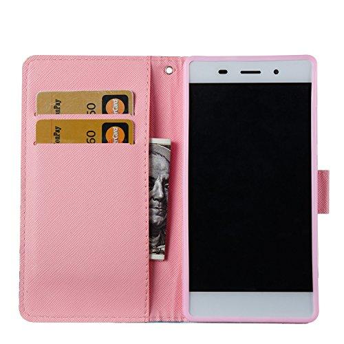 ZCRO Handytasche für Huawei P8 Lite 2015/2016, Leder Schutzhülle Brieftasche Hülle Flip Case 3D Muster Cover mit Kartenfach Magnet Tasche Handyhüllen für Huawei P8 Lite 2015/2016(Schmetterling Blume) - 3