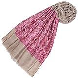 LORENZO CANA Echarpe de 100% Cachemire pour la femme – 70 x 200 cm, jacquard, motif paisley, avec bordure - souple et noble – une sensation de luxe en rose couleur framboise beige ecru
