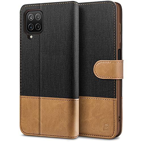 BEZ Funda Samsung Galaxy A12, Carcasa para Samsung Galaxy A12 Libro de Cuero con Tapas y Cartera, Cover Protectora con Ranura para Tarjetas y Billetera, Cierre Magnético, Negro