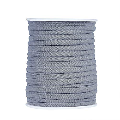 21.8 Yards Soft Nylon Elastic Cord 3mm Thick Stretchy Spandex Nylon Cord Flat Macrame Thread for for Sewing Crafting Jewelry Making (Gray)