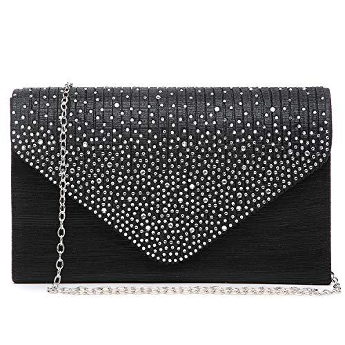 Dasein Ladies Frosted Satin Evening Clutch Purse Bag Crossbody Handbags Party Prom Wedding Envelope (Black)