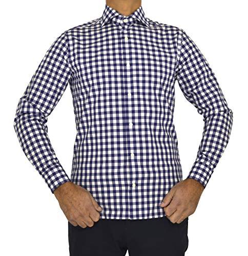 E. MECCI höstrea herrskjorta tillverkad i Italien 100 % bomull rutig blå smal passform långärmad