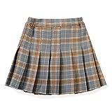 Girls' Pleated Plaid Mini Skirt, High Waist Skort School Girl Skirt for Toddlers, Little & Youth Big Girls Grey Tag 160-11-12Y