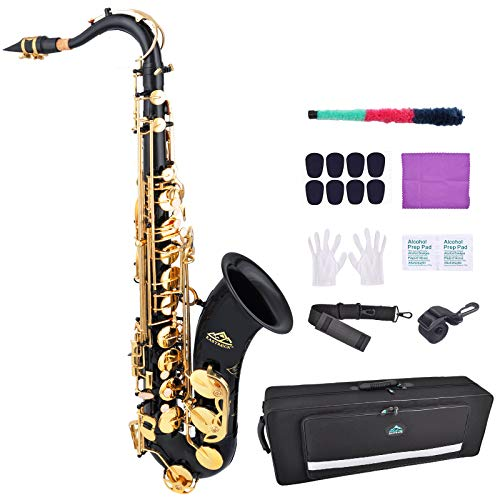 EASTROCK Tenor Saxophone B Flat Black/Gold Laquer Sax Students Beginner With Updated Carrying Case,Reeds,Cleaning Kit,Gloves,Neck Straps,Mouthpieces