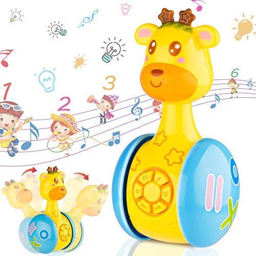 Seamuing Giochi Neonato 6 Mesi in più,Giocattoli Musicali Giraffa Tumbler Giochi per Bambini,Giocattoli di attività,Giocattoli Prima Infanzia Sonori con Musica e Luce,Regalo Bimbo 1 2 3 Anno