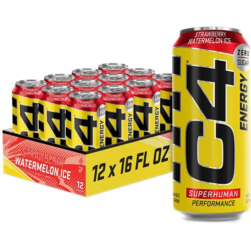 C4 Energy Drink 16oz (Pack of 12) - Strawberry Watermelon Ice - Sugar Free Pre Workout Performance Drink with No Artificial Colors or Dyes