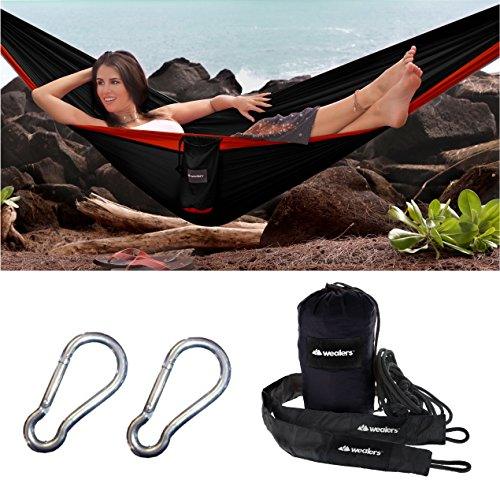Camping Hammock – Double Parachute Hammock with Sporty Travel Bag, 2 Carabiners and Rope Sleeves for All Outdoor Excursions | Hiking, Fishing, Beach, Mountaineering Backyard Lounging – Black/Red