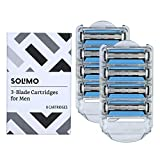 Amazon Brand - Solimo 3-Blade Razor Refills for Men with Dual Lubrication, 8 Cartridges (Fits Solimo Razor Handles only)