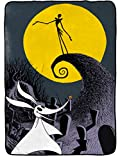 Nightmare Before Christmas Moonlight Madness Blanket - Measures 62 x 90 inches, Kids Bedding Features Jack Skellington & Zero - Fade Resistant Super Soft Fleece - (Official Disney Product)