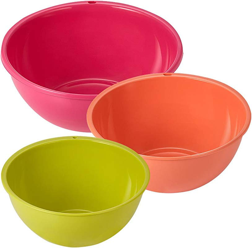 Multi Mixing Bowl Large Pink Medium Orange Small Green 3 Pcs Set Made In Korea