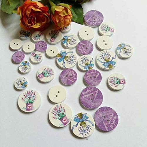 Xucus 15mm/20mm/25mm 100PCs Wooden Buttons Lavender Pattern Painting Sewing Buttons Round Scrapbooking for Crafts - (Color: Mix 3 Size)