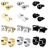 Milacolato 12 Pairs Stainless Steel Earrings for Mens Women CZ Square Stud Ball